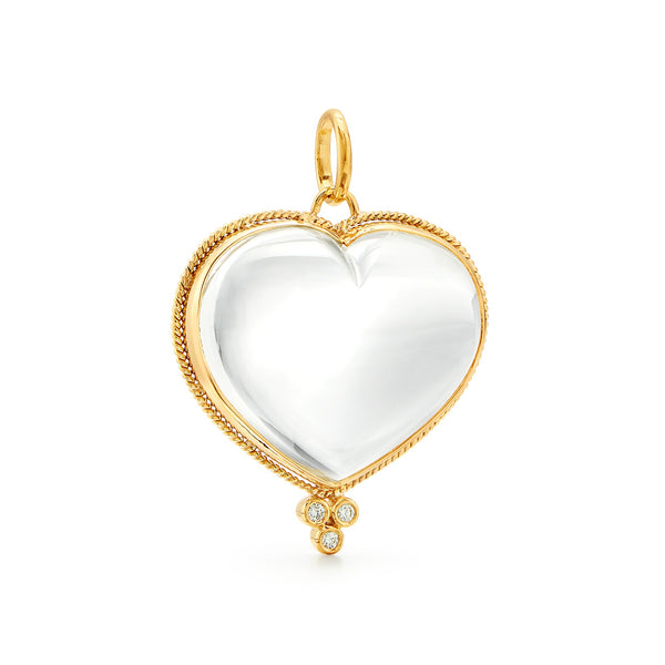 18K Rock Crystal Heart Pendant