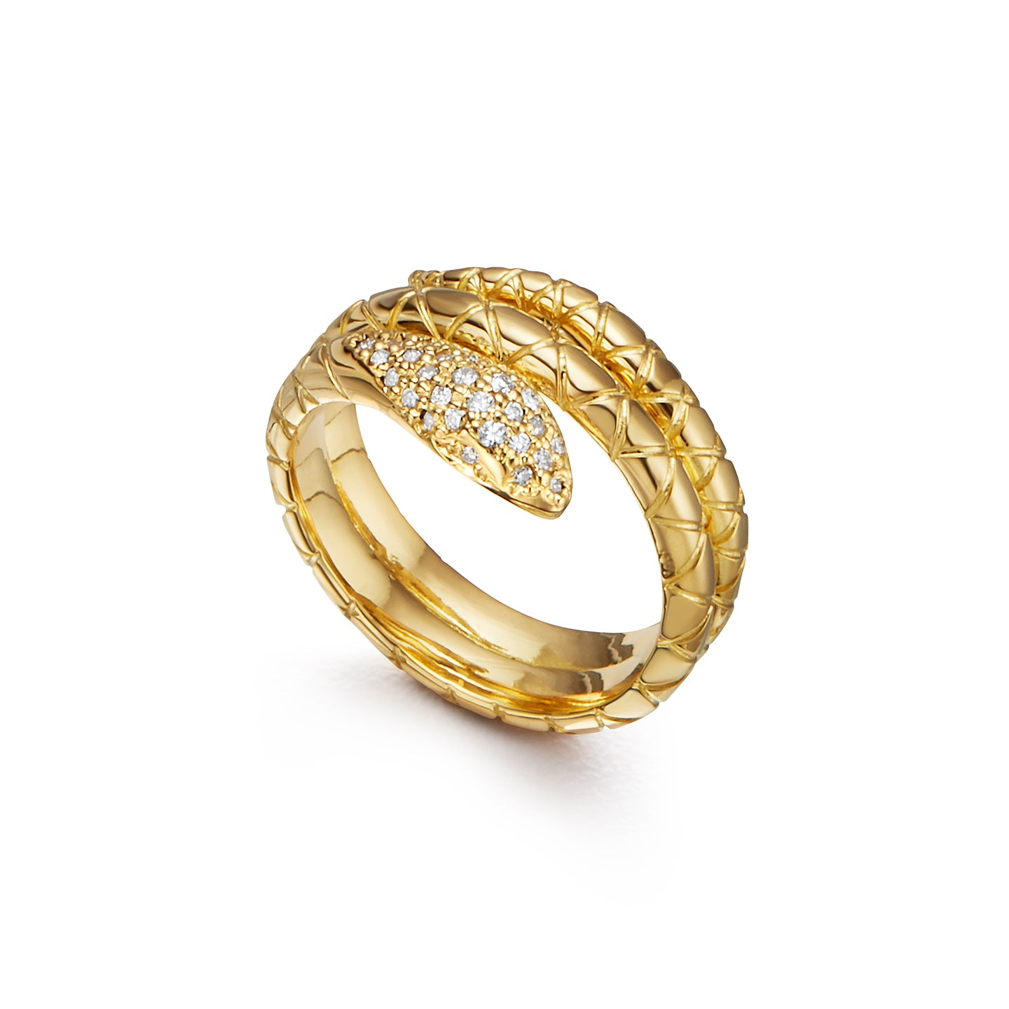 18K Small Double Serpent Ring