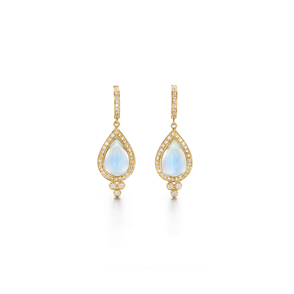 18K Halo Drop Earrings