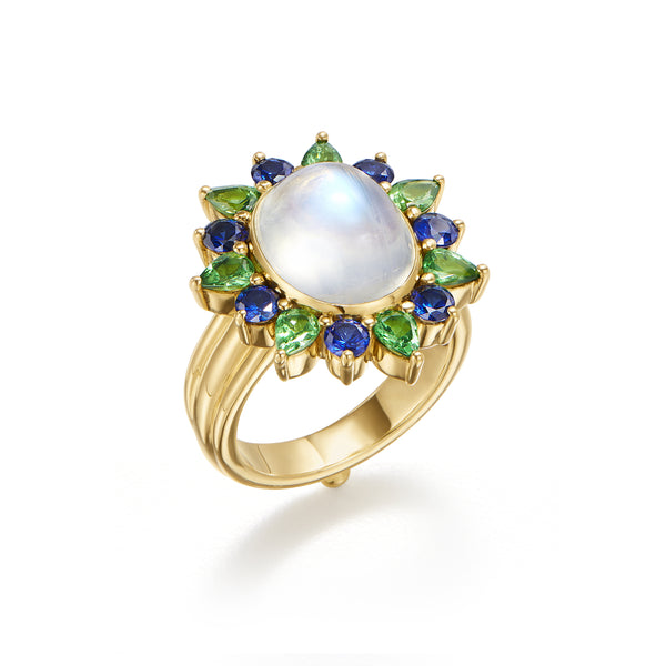 18K Blue Moonstone Halo Ring