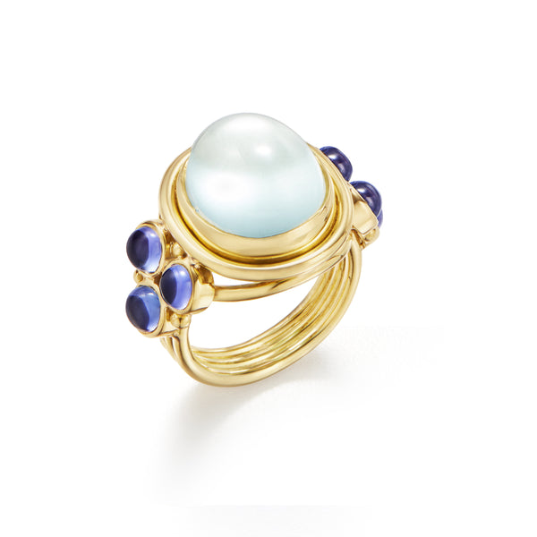 18k Royal Blue Moonstone Classic Temple Ring