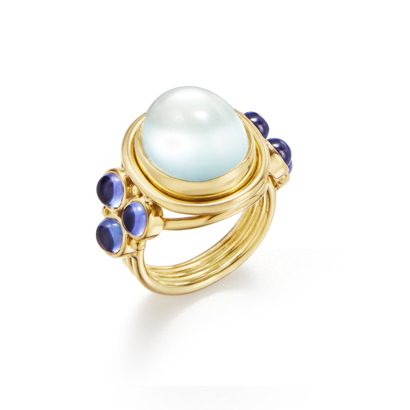 18k Blue Moonstone Classic Temple Ring