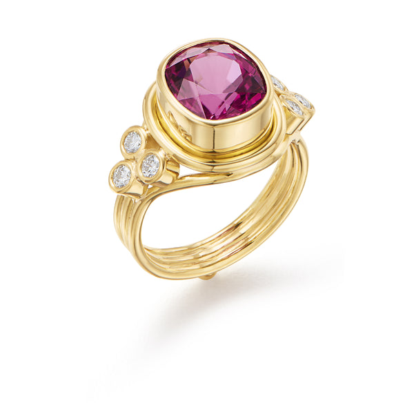 18K Rubellite Tourmaline Temple Ring