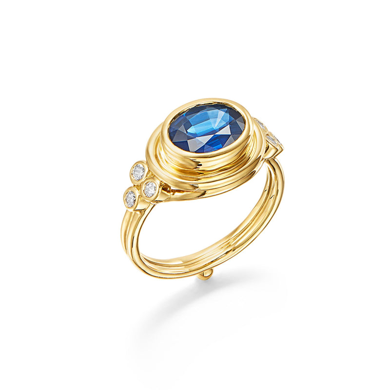 18K Blue Sapphire Temple Ring