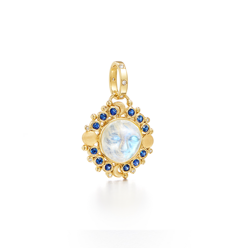 18k Lunar Phase Blue Moon Pendant