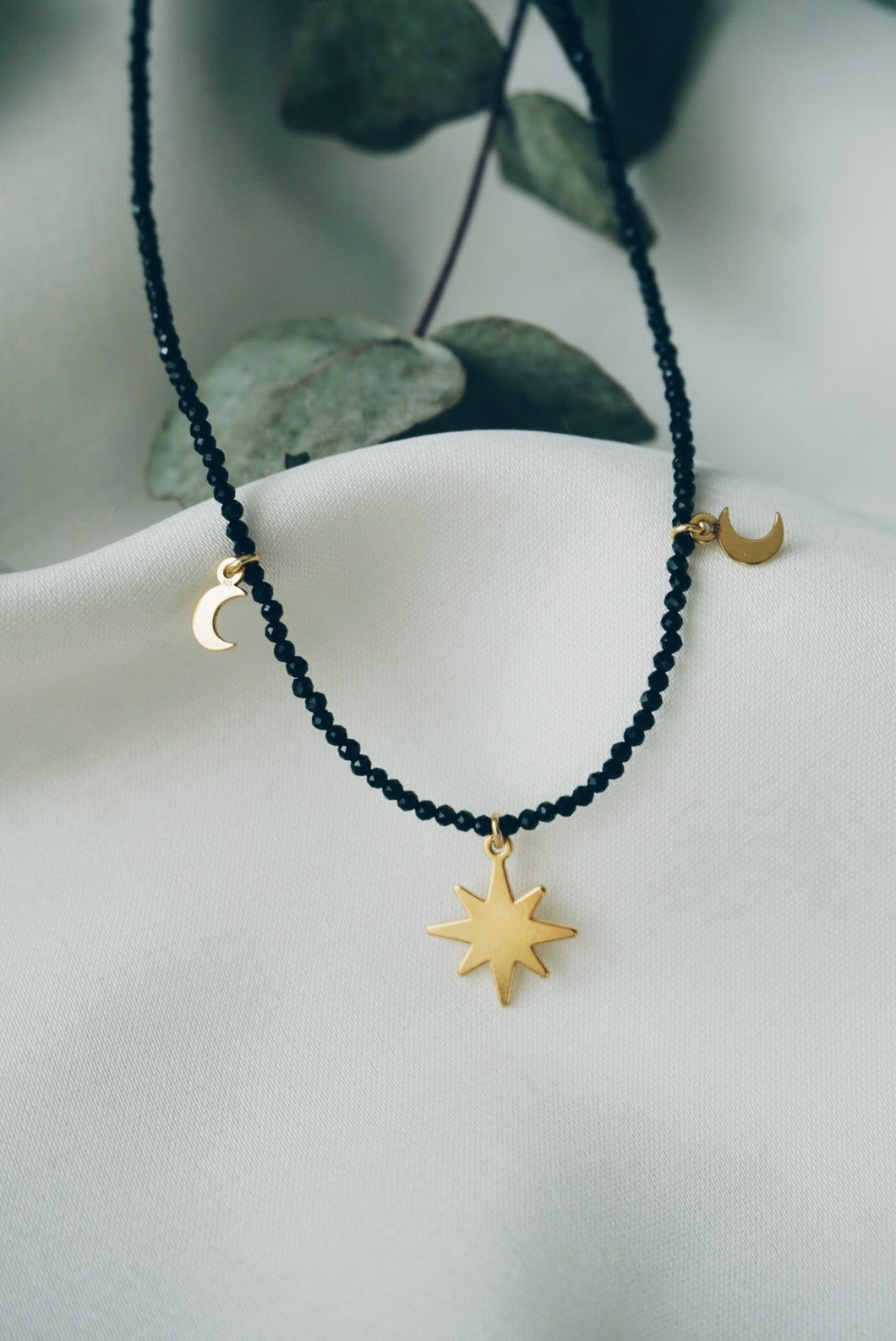 Star moon spinel necklace