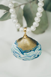 Waves seashell pearl necklace