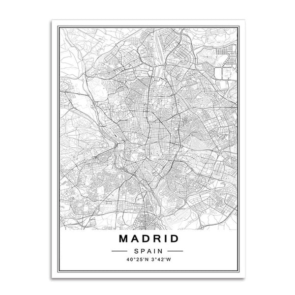 B&W World Cities Map, canvas