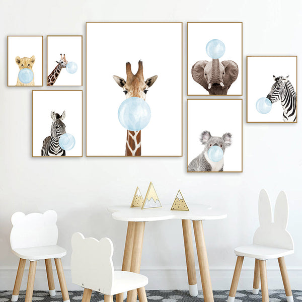 Blue bubble aminals, canvas