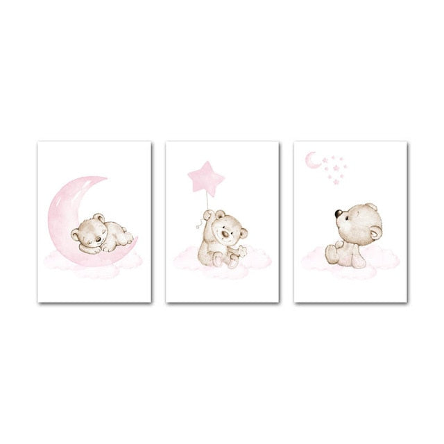 Pink Bear Baby, canvas