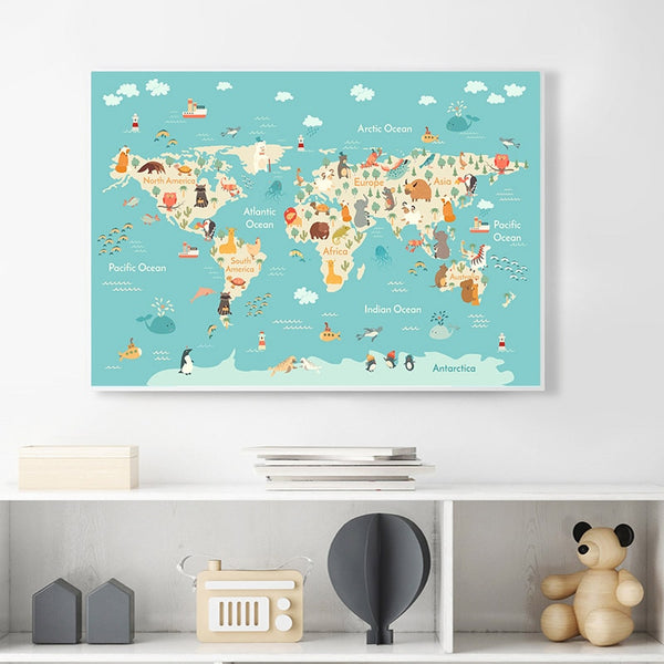 Animals World Map, canvas