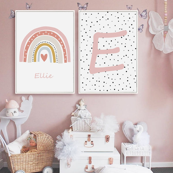 Pink Rainbow Personalized Name, canvas