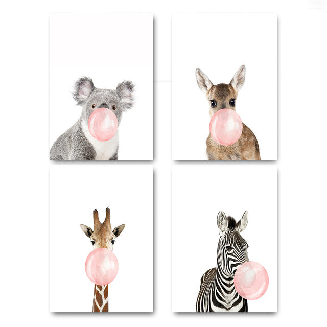 Pink bubble animals, canvas
