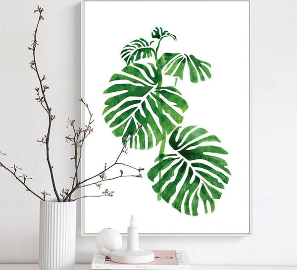 Tropical green plants, canvas