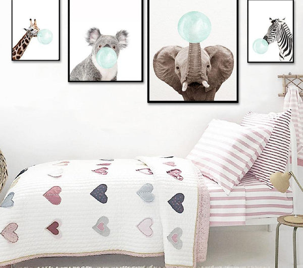 Mint bubble animals, canvas