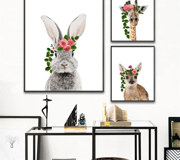Baby animals with flowers, canvas