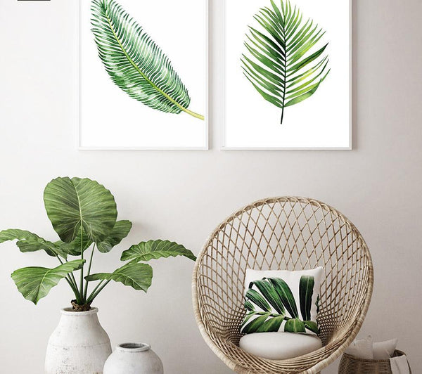 Scandinavian Watercolor Leaves, canvas