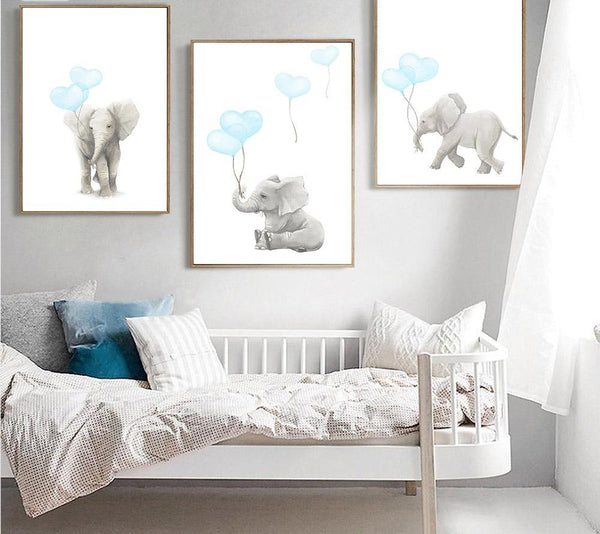 Elephant Heart Balloons, canvas