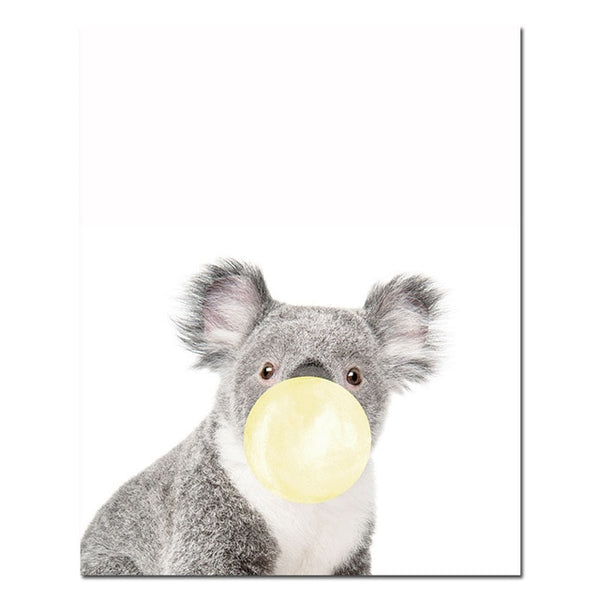 Yellow bubble baby animal, canvas