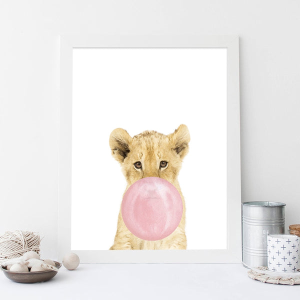 Baby lion pink bubble, canvas