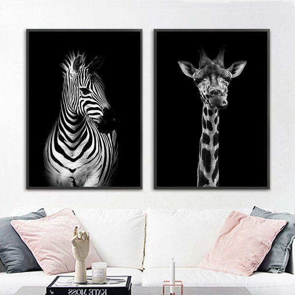 Black and white animals, canvas