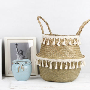 Seagrass lace B&W basket, accesories