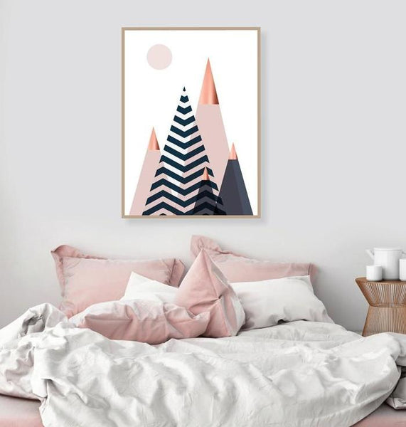Geometric Mountain Design, canvas