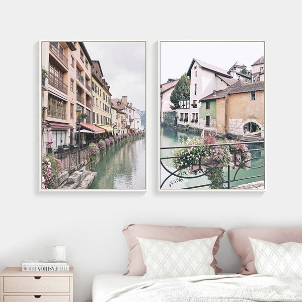 Old Pastel Town, canvas