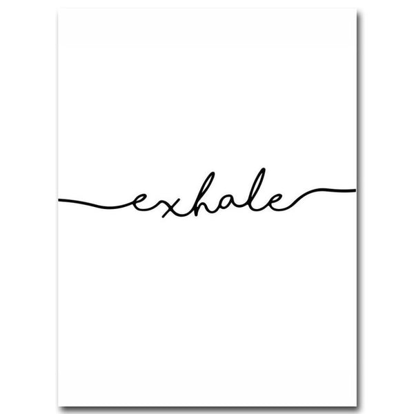 Inhale Exhale Black and White, canvas
