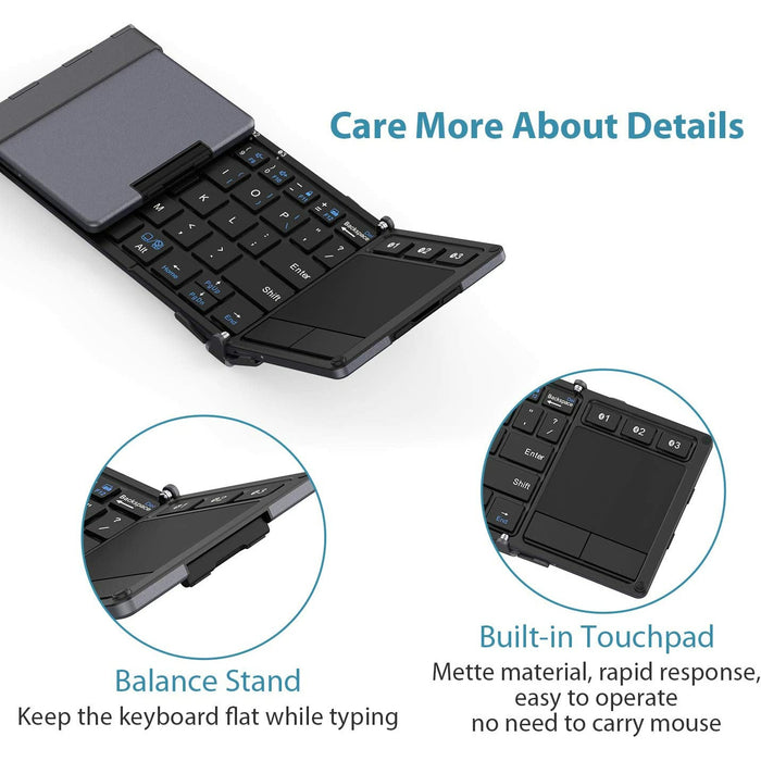 Pocket-Sized Tri-Folded Keyboard | Windows Mac Android iOS