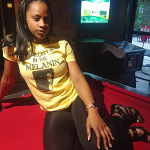 Secret Is In The Melanin Fitted Tee - Black Empowerment Apparel, Black Power Apparel, Black Culture Apparel, Black History Apparel, ServeNSlayTees,