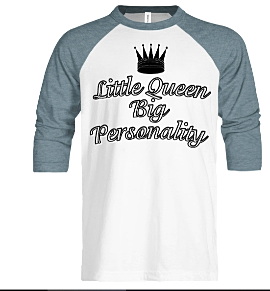 Little Queen Youth Ragland Tee - Black Empowerment Apparel, Black Power Apparel, Black Culture Apparel, Black History Apparel, ServeNSlayTees,