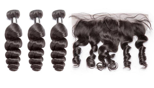 3 bundles w/ Frontal- Brazilian Loose Wave