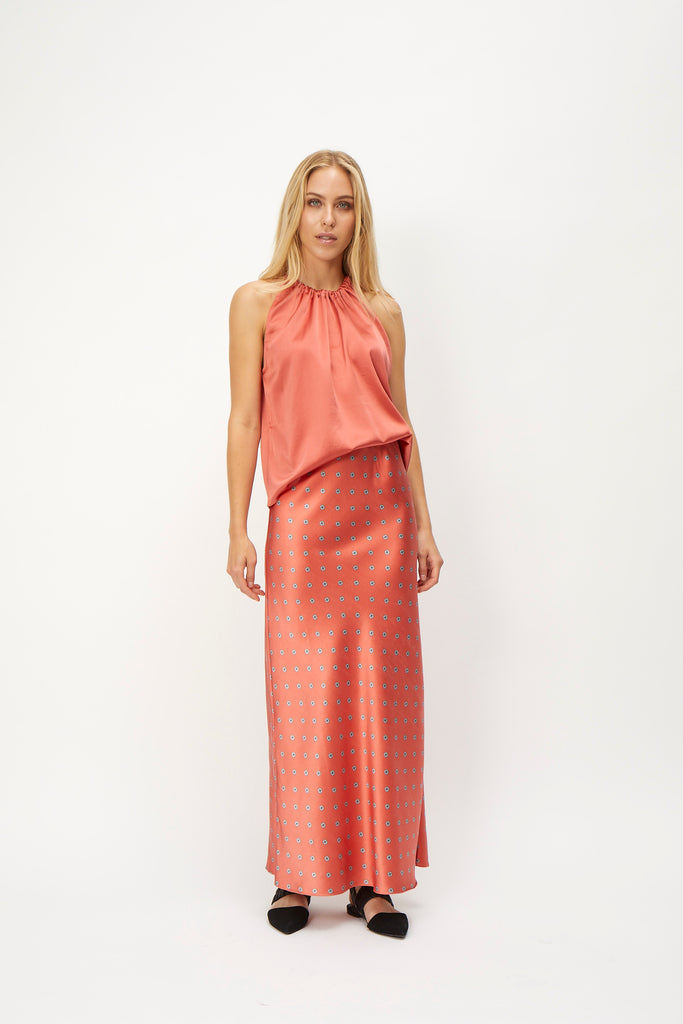 KACEY silk skirt, Burnt Sienna