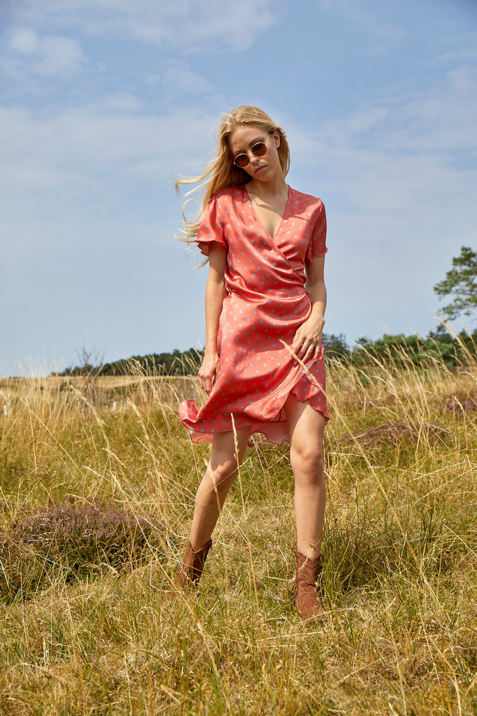 GILMA silk dress, Burnt Sienna