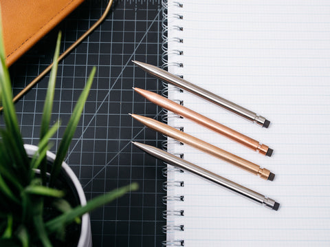 Modern Fuel titanium, copper, stainless steel and bronze mechanical pencils