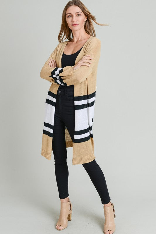 Striped Long Open Cardigan