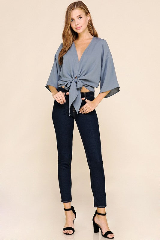 Cropped Front Tie Knot Top