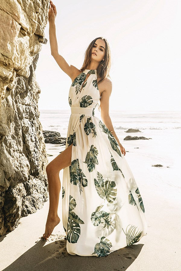 Monstera Printed High-Neck Maxi Dress