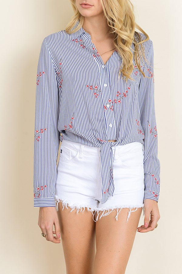 Knotted Striped Blouse