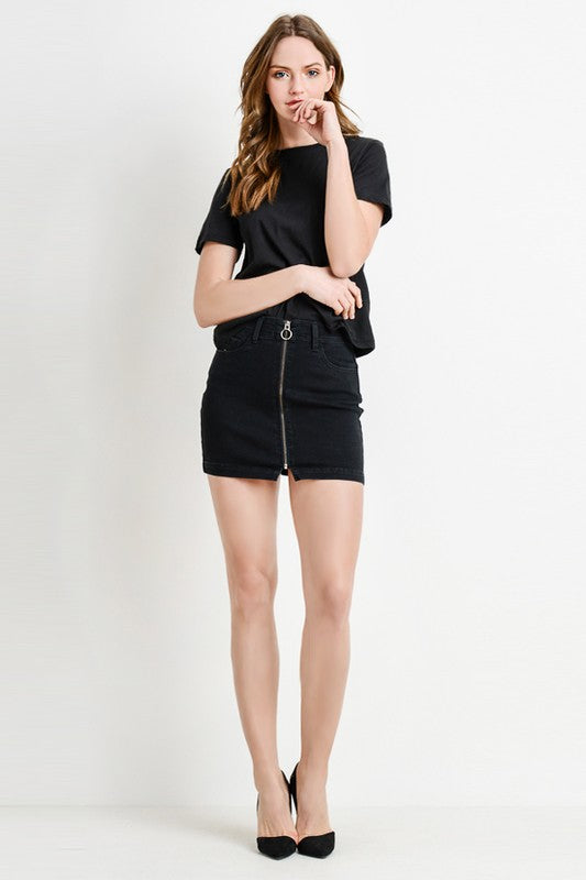 Front Zipper Down Mini Skirt
