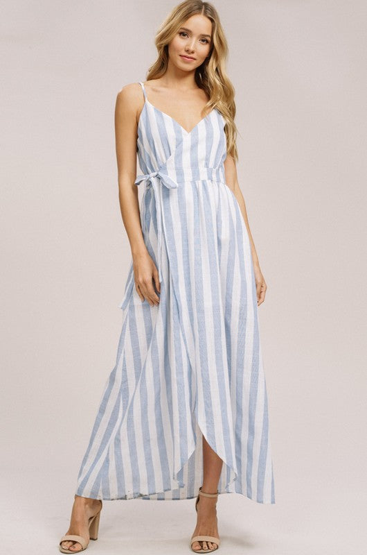 Striped Linen Wrap Maxi Dress