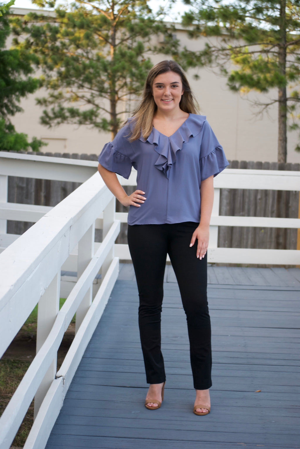 Blue Granite V Neck with Ruffle Details