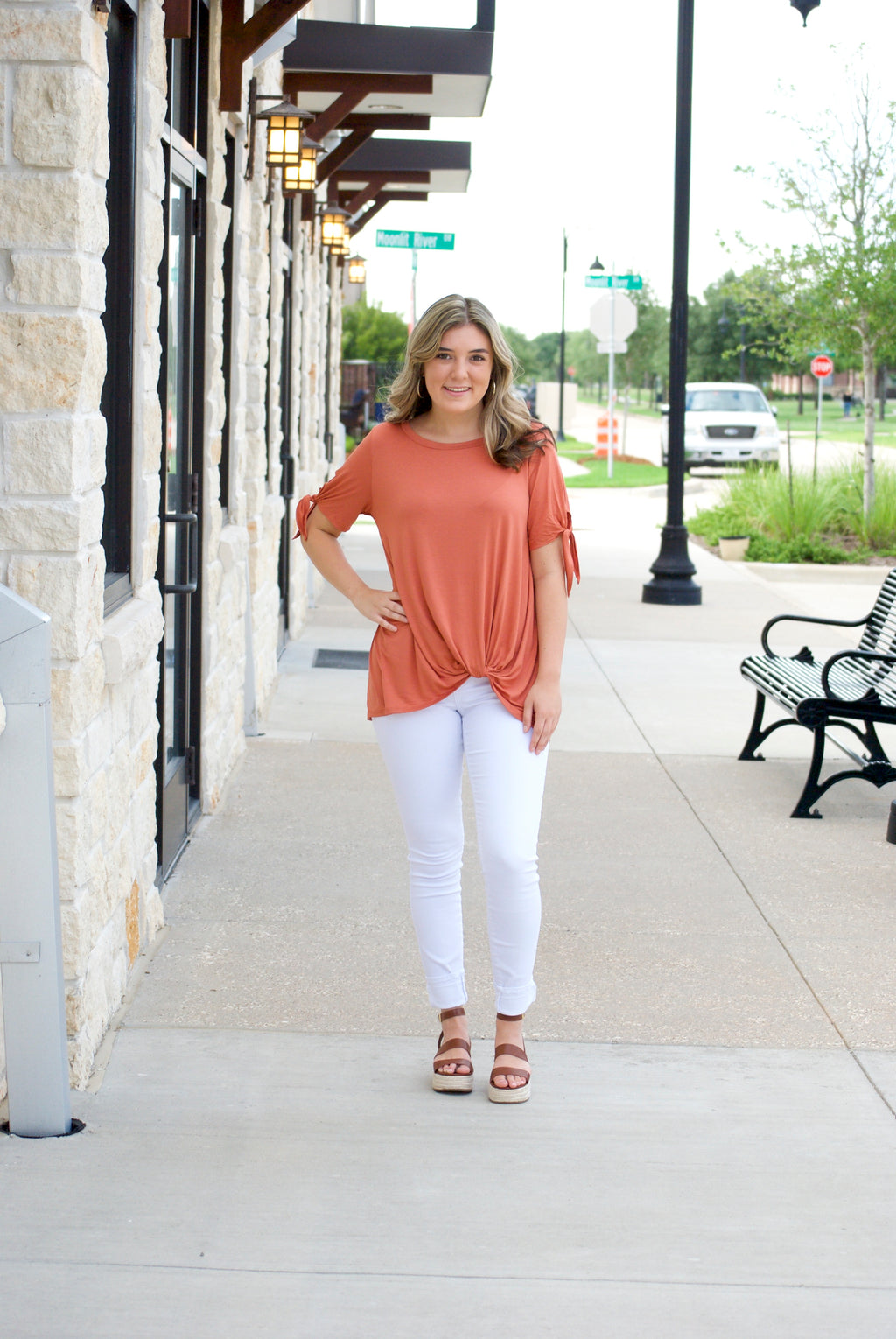 Dusty Coral Knot Blouse