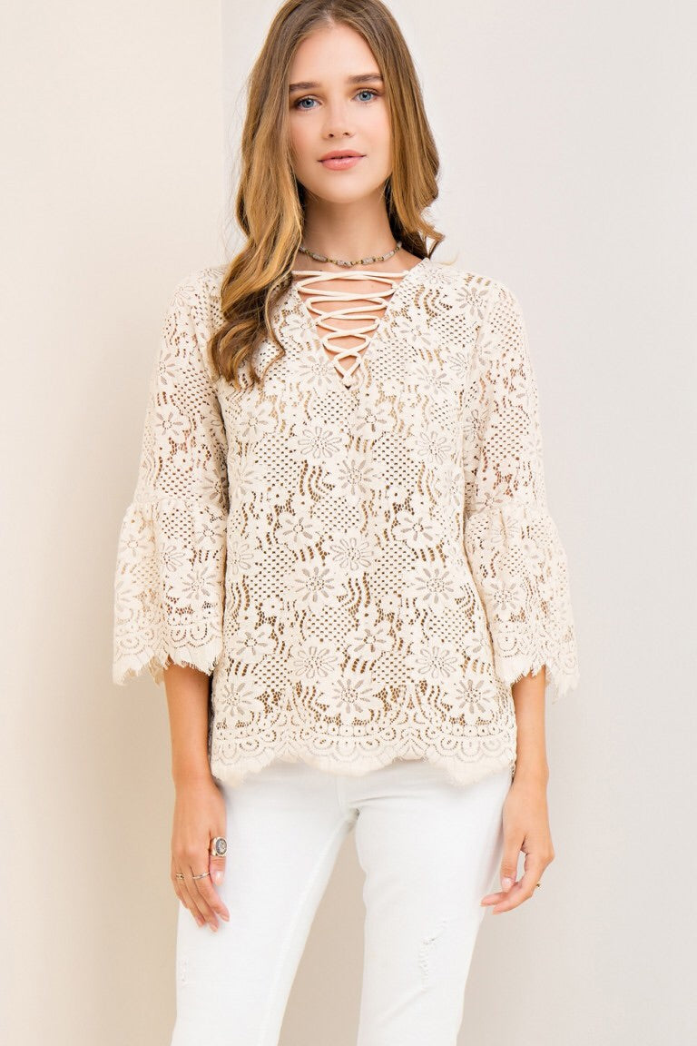 Bell Sleeve Solid Lace Top