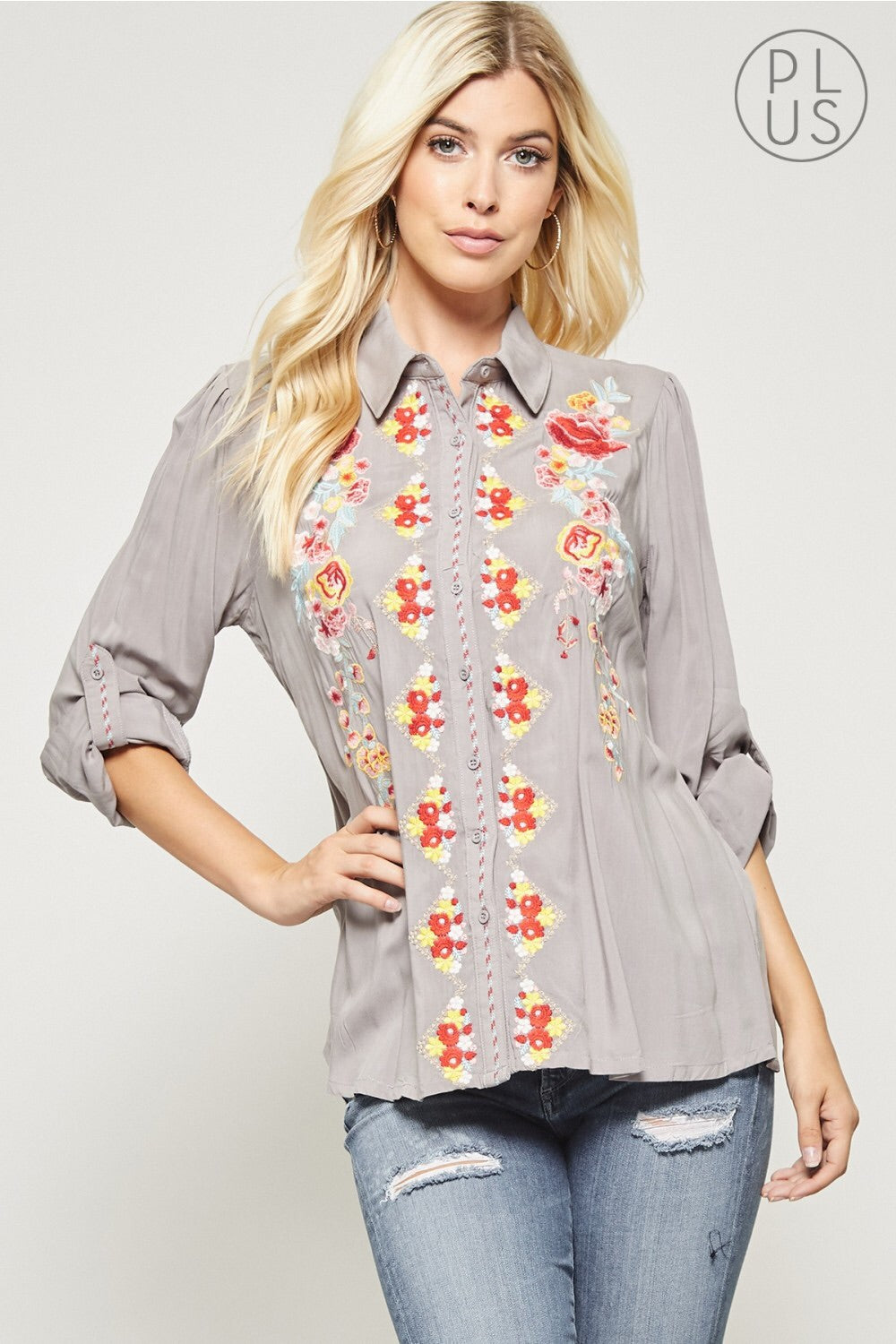 Classic Floral Embroidery Button Up Blouse
