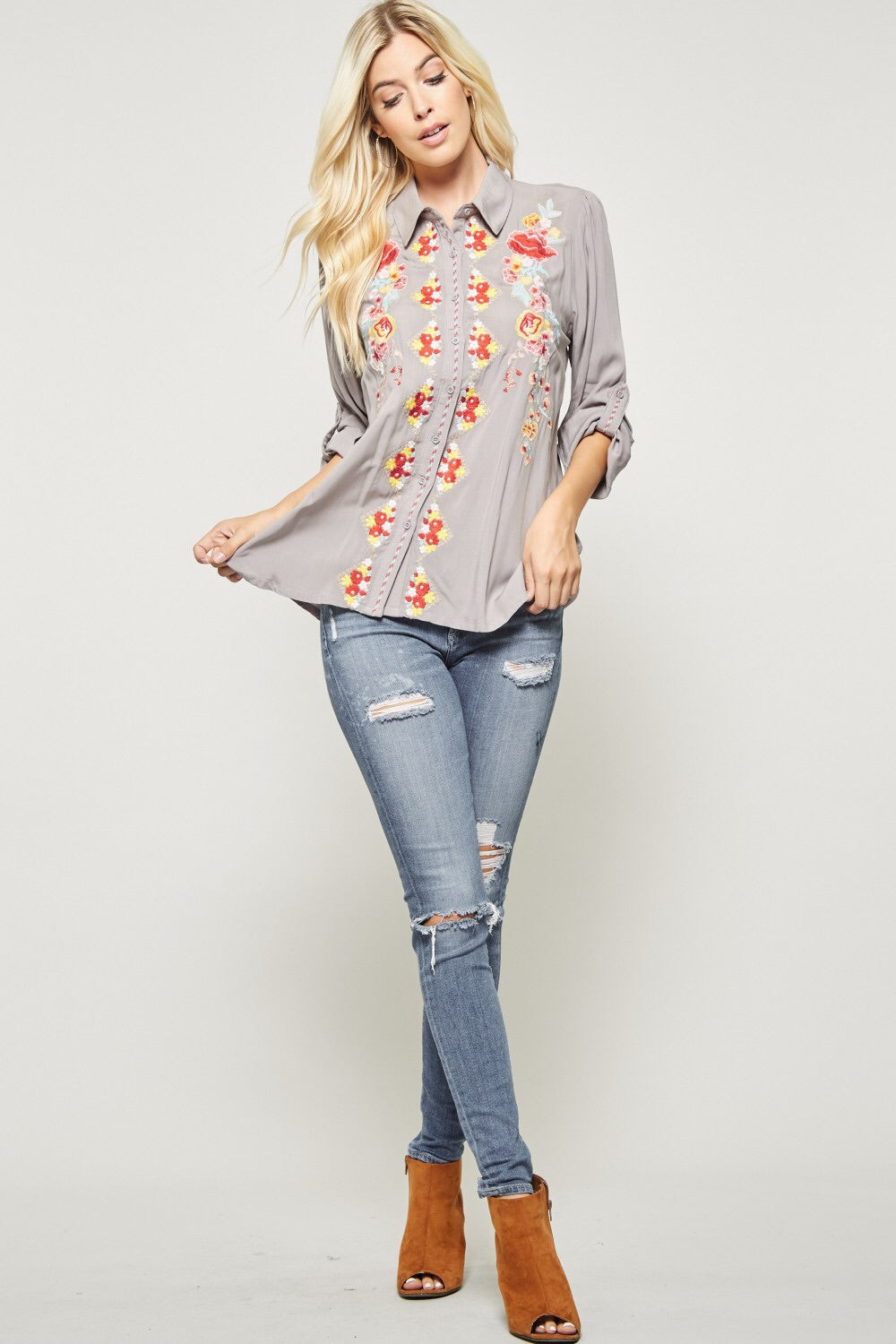 Classic Floral Embroidery Button Up