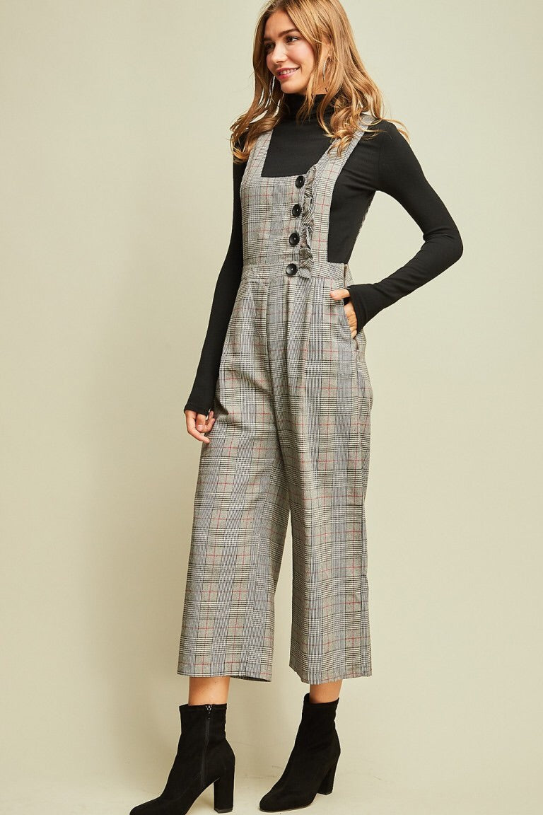 Plaid Pinafore Jumpsuit