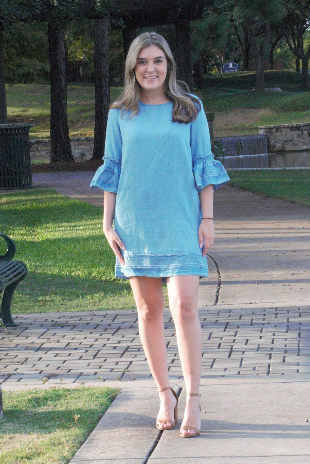 Kayla Chambray Shift Dress