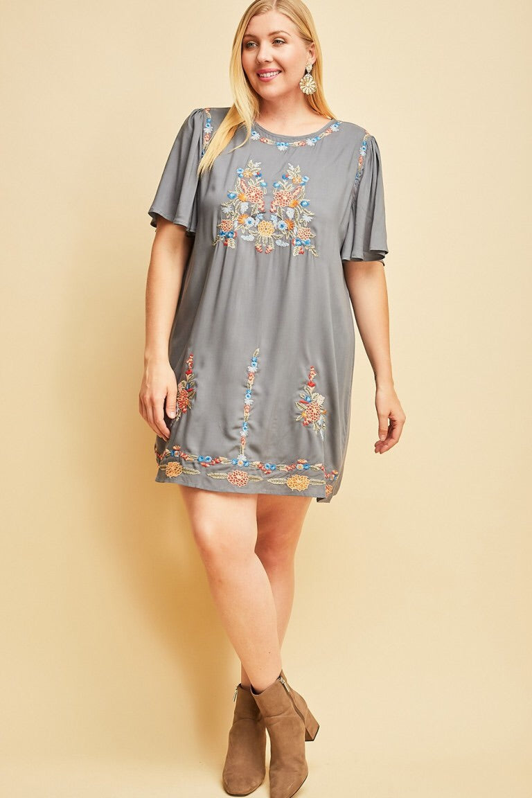 Floral Embroidery Shift Dress